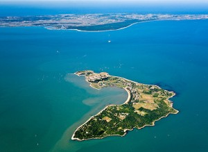 France, Charente Maritime, Ile d'Aix before the Fort Boyard and Oleron island (aerial view)